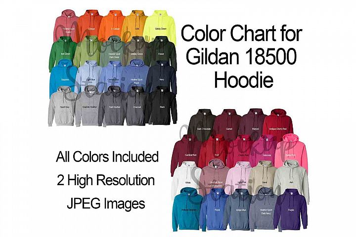 Color Chart for Gildan 18500 Hoodie, Digital Color Chart