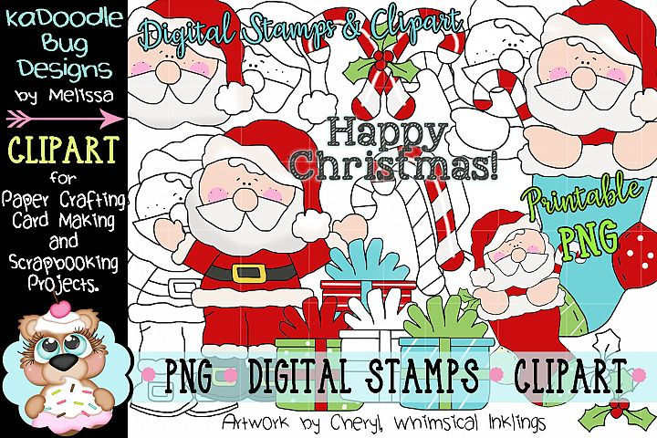 Happy Claus Digital Stamp and Clipart Illustrations PNG