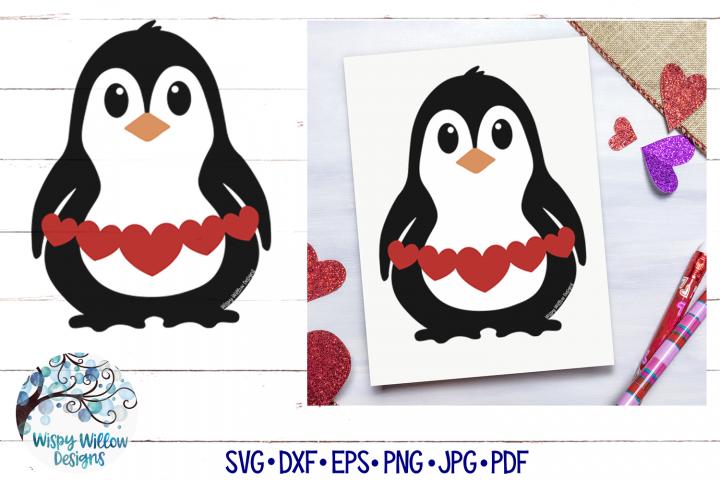 Penguin Holding Hearts SVG | Valentine Penguin SVG Cut File