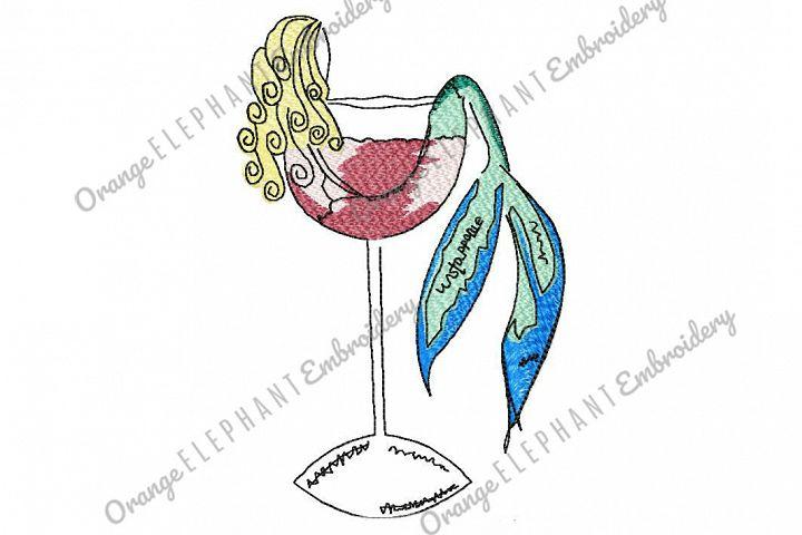 Mermaid Splash Wine Glass Hand Drawn Unique Urban Machine Embroidery Design digital File