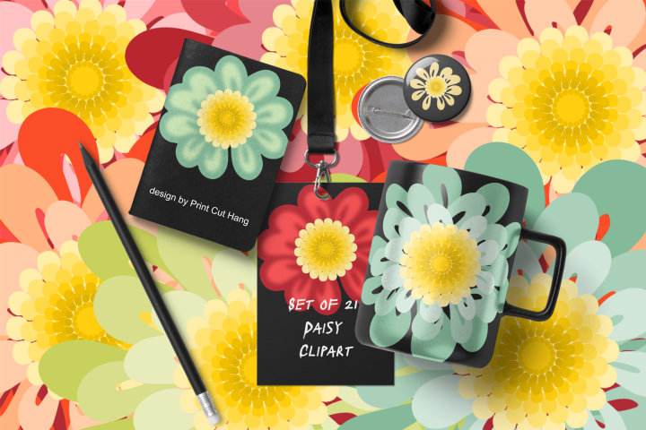 Daisy Flowers Clipart Set Fall Colors PNG Files