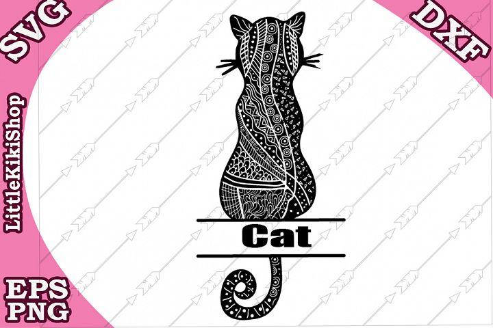 Zentangle Cat Monogram Svg,Mandala Cat,Cat Split Monogram