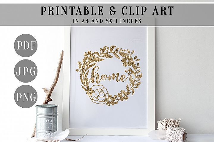 Gold Glitter Home Wreath Printable, Clip Art, Home Decor PDF