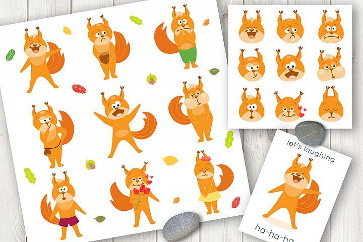 Squirrel cartoon vector set