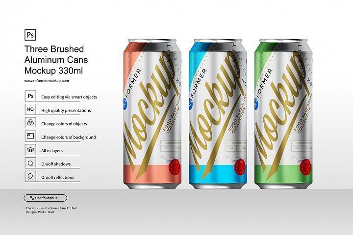 Three Brushed Aluminum Cans Mockup 330ml