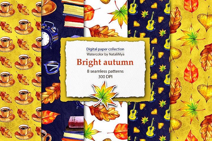 Watercolor bright autumn papers