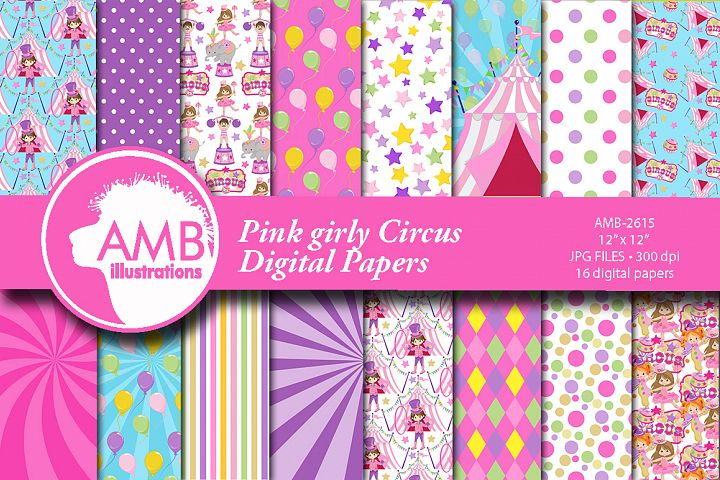 Pink Circus patterns, Circus papers AMB-2615