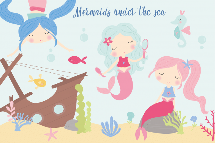 Mermaids under the sea