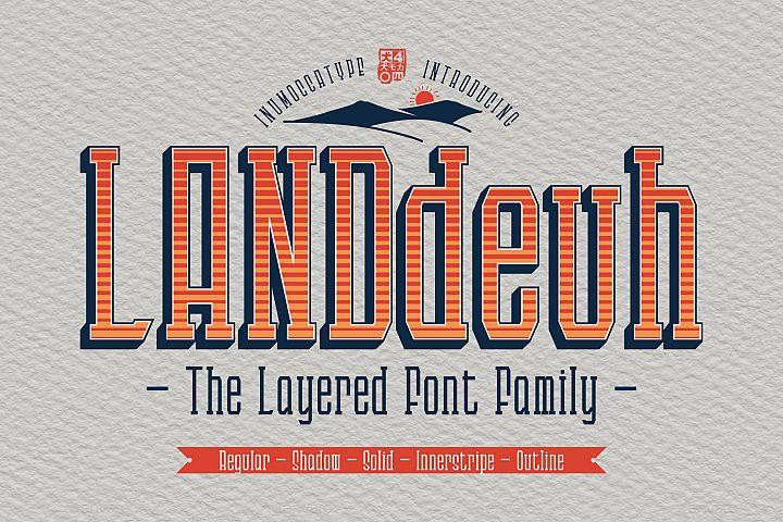 LANDdeuh Layered font Family