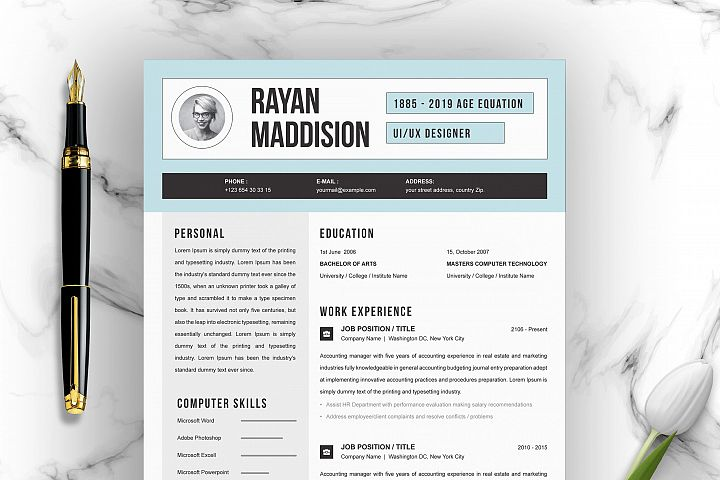 Resume Template 4 Pages | CV Template
