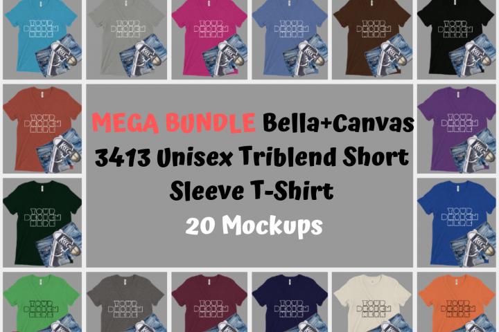 MEGA BUNDLE Bella Canvas 3413 Unisex Triblend TShirt Mockups