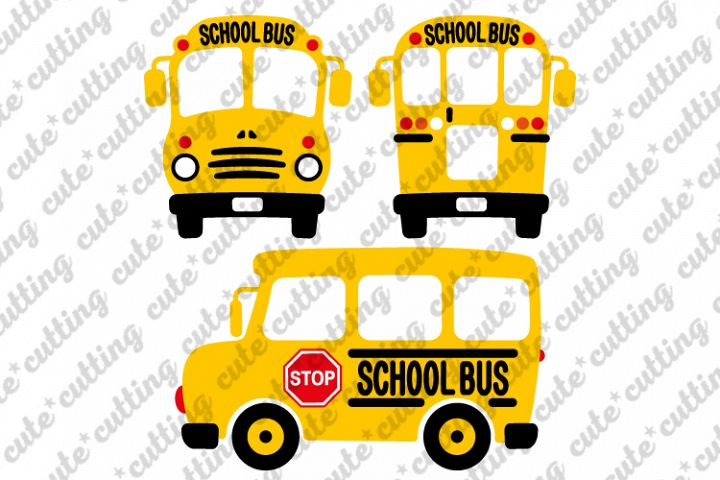School bus svg, School bus back svg, School bus front svg