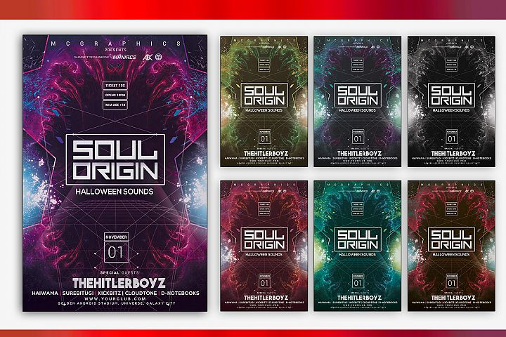 Soul Origin Halloween Sounds Flyer Template