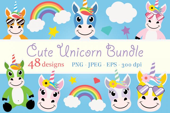 Cute Unicorn Clipart Bundle, Magical Horses, PNG, JPEG, EPS
