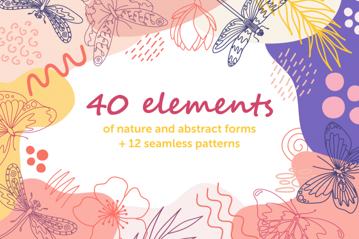 Nature elements and abstract forms for patterns
