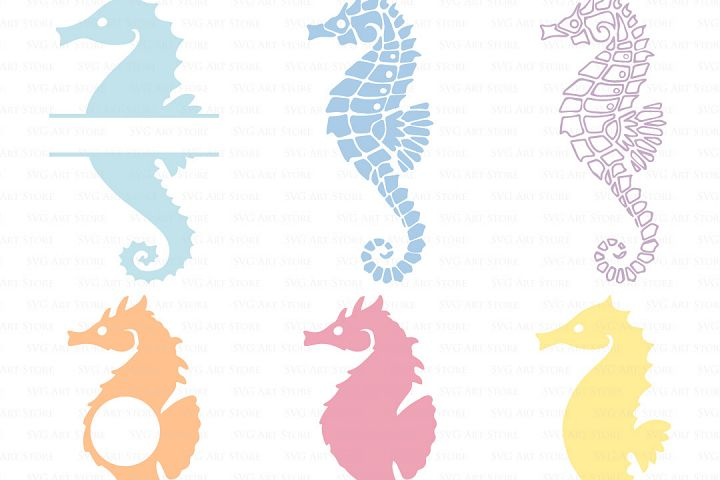Seahorse SVG Files - nautical, sea horse monogram cut files for Cricut and Silhouette - ocean SVG, dxf, png, jpg files Included.