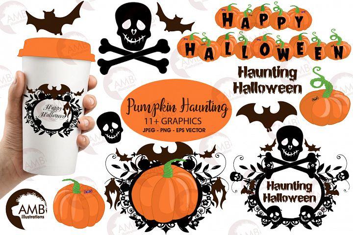 Halloween Haunting  pumpkins clipart, graphics, illustrations AMB-996