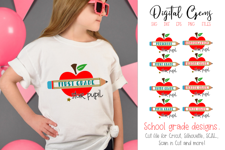 School grades, Apple and pencil SVG / EPS / DXF / PNG Files