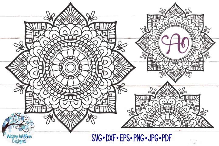 Mandala SVG Bundle | Mandala Monogram SVG | Half Mandala SVG