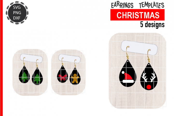 Christmas Earrings Bundle Svg / Leather / Faux / Wood / Cut