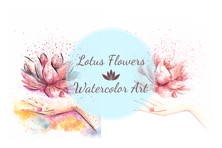 Zen Lotus Flower Watercolor Illustration