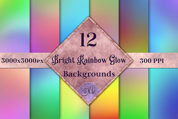 Bright Rainbow Glow Backgrounds - 12 Image Textures Set