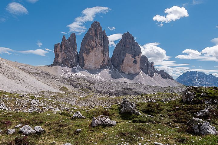 Tre Cime di Lavaredo and sunshine