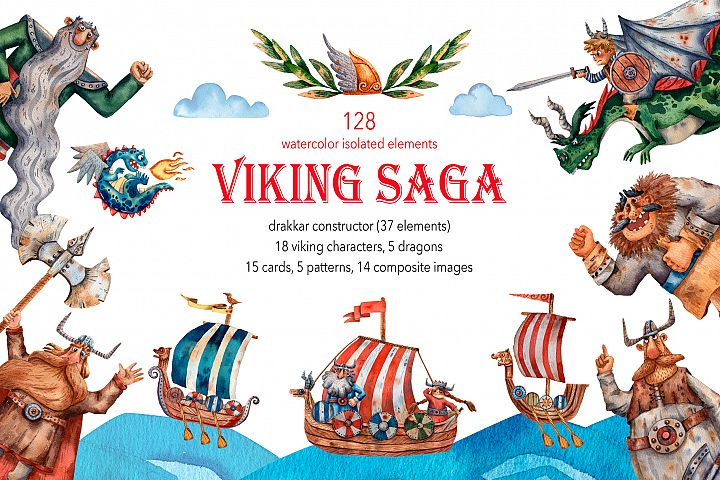 Viking Saga - Watercolor Clip Art Set
