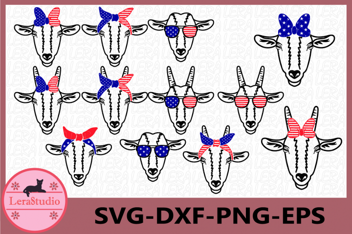 Goat SVG, Farm svg, 4th Of July Svg, Patriotic Goat svg