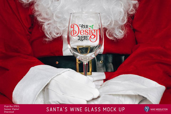 Santas Wine Glass - Christmas Mock Up II