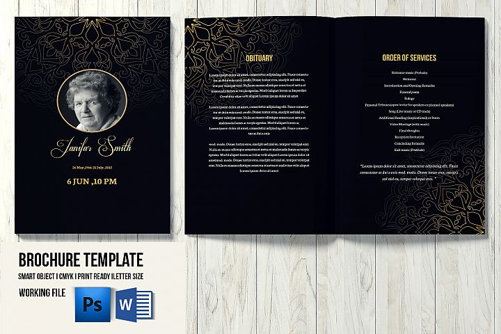 Funeral Program Template, Ms Word & Photoshop Template