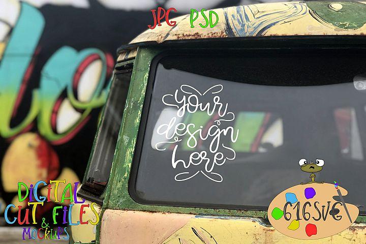 Hippie Van Mockup Front View