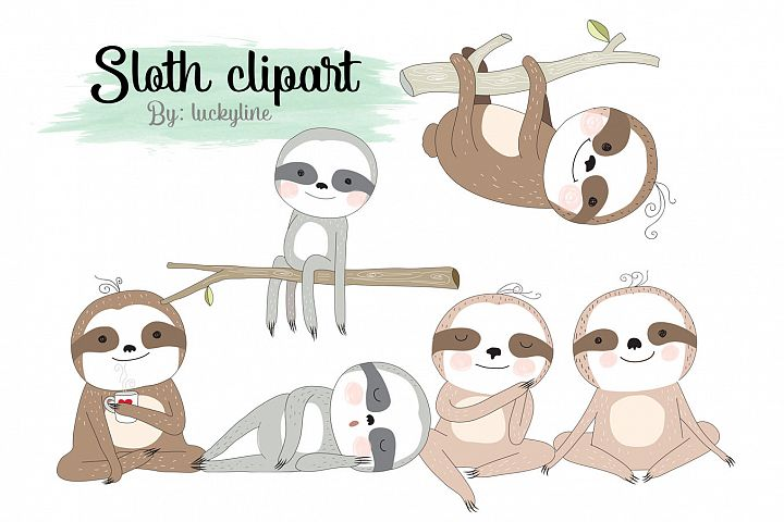 Sloth clipart Instant Download PNG file - 300 dpi