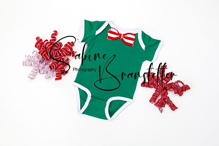 Styled Stock Photo Green Baby Boy Bodysuit ,Christmas Mockup