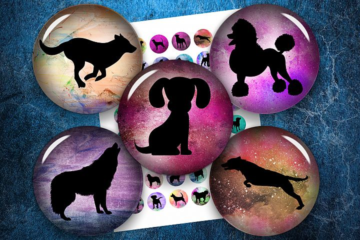 Dog Silhouettes, Digital Collage Sheet, Printable Circles