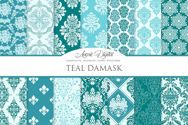 28 Teal Damask Patterns - Seamless Digital Papers Bundle