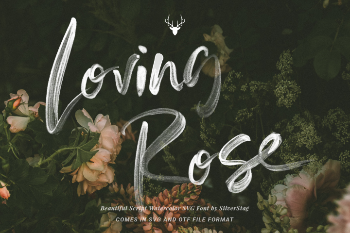 Loving Rose SVG Watercolor Font Pack - Hand Drawn Font