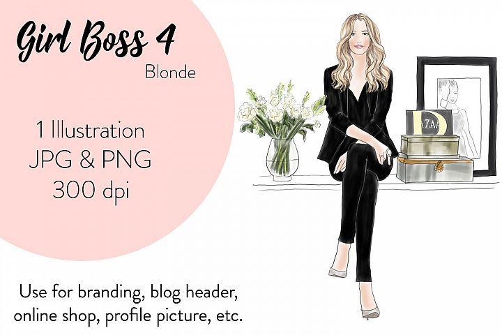 Fashion illustration clipart - Girl Boss 4 - Blonde