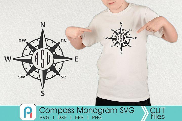 Compass Monogram Svg, Compass Svg, Compass Clip Art