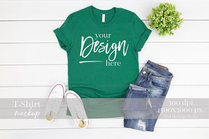 TShirt Mockup EVERGREEN| 3001 Bella Canvas Mockup