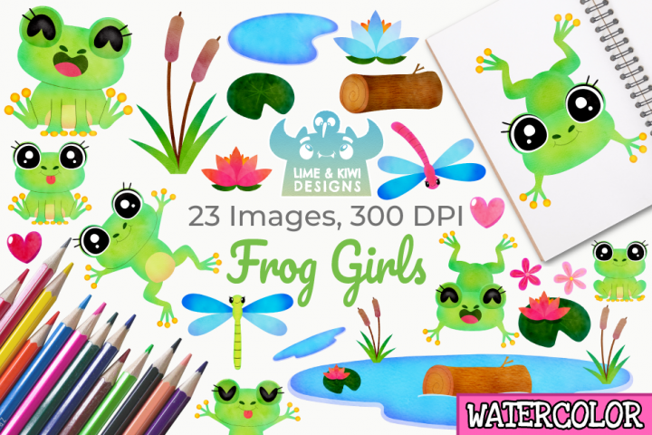 Frog Girls Watercolor Clipart, Instant Download Vector Art