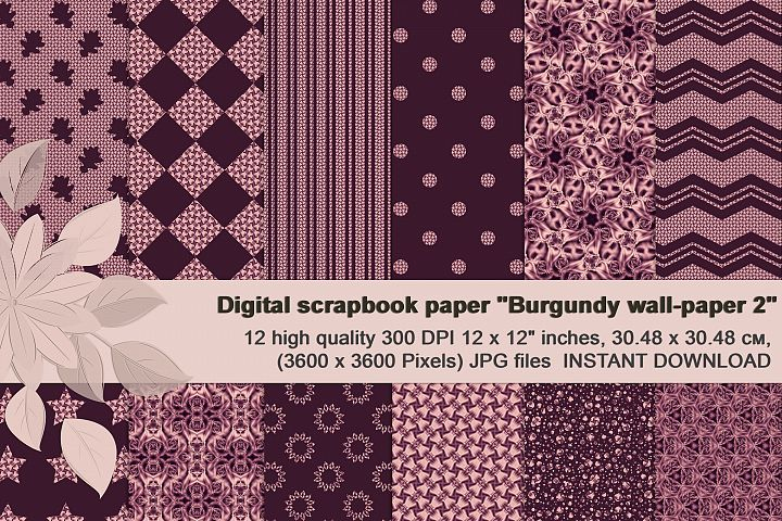 Burgundy abstract and geometrical Digital Scrapbook Paper.