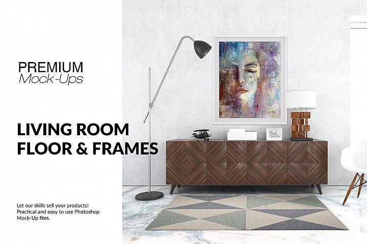 Floor Frames & Carpet in Living Room Set