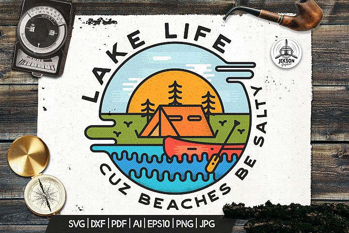 Lake Life Logo, Adventure Badge Retro Camp Patch SVG Sticker