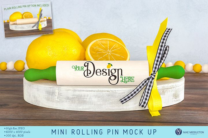 Mini Rolling Pin Tiered Tray Decor Mock Up Styled Photo