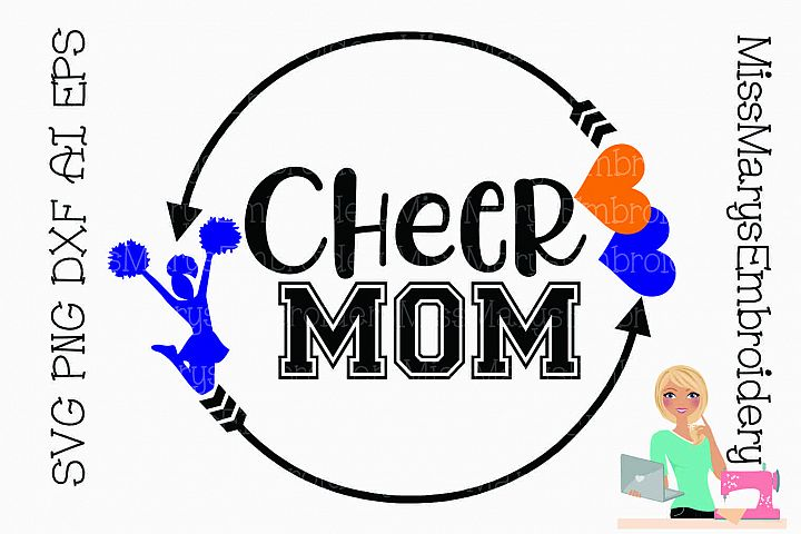 Cheer Mom Arrow Monogram Frame SVG PNG DXF