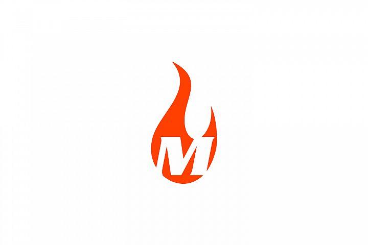 m letter flame logo