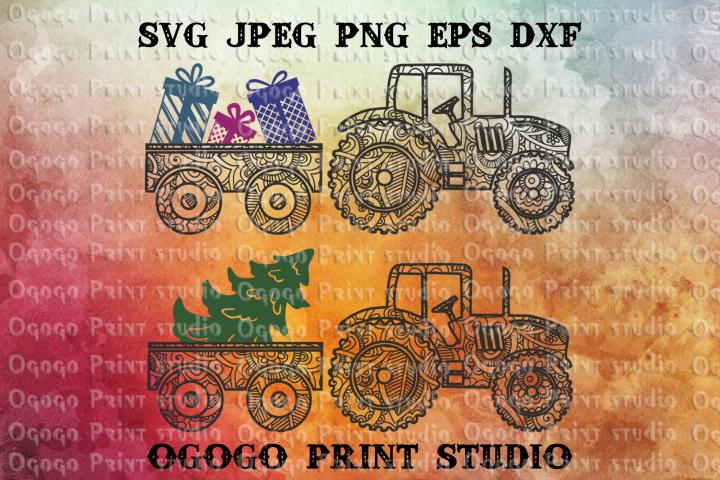 Christmas Svg, Mandala Svg, Farm Tractor svg, Zentangle SVG