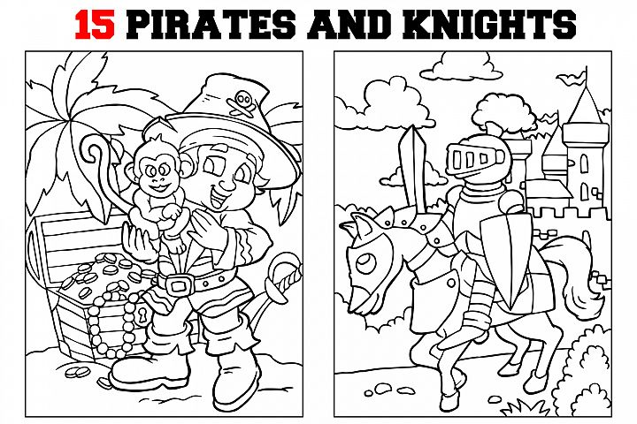 Coloring Pages For Kids - 15 Pirates and Knights example image 1