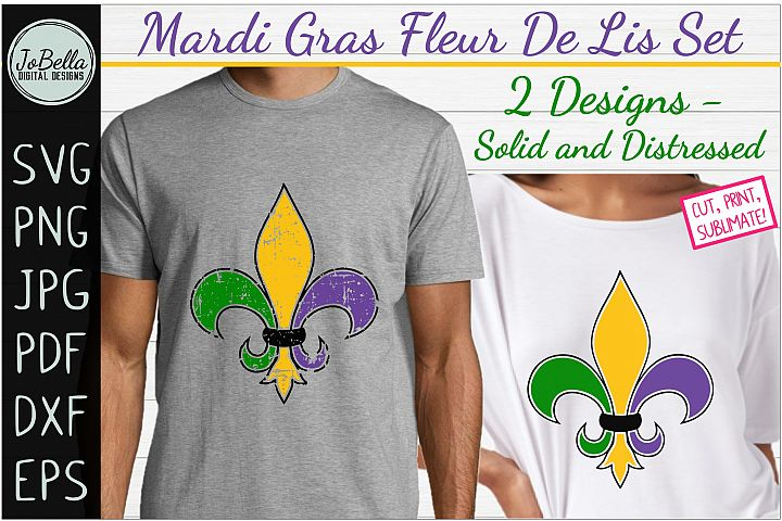 Mardi Gras Fleur De Lis SVG Set, Sublimation PNG & Printable